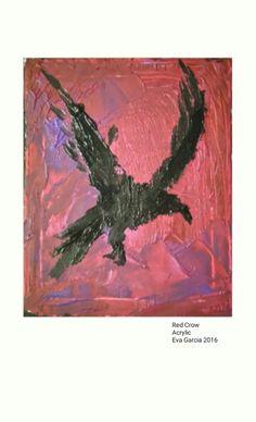 Red great crow  Gran cuervo rojo Mix tech.acrilyc transfer on canvas  Técnica mixta de acrílico en transferencia