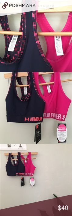 Under Armour Sports Bra Set 💪🏼🙋🏼 NWT. Set of two, never worn sports bras, (bought a size too small too late to return) - adore these colors and the statement bands around the bottom. Non-padded, tight fit for support & comfort. Breast cancer awareness bra has the ribbon image centered on the back. Great way to raise awareness while breaking a sweat 💦  I so wish these fit! Under Armour Other