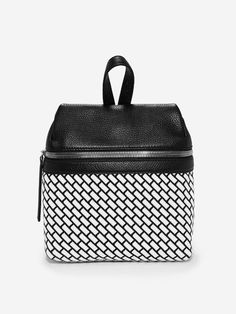 KARA | Black and White Faced Woven with Pebble Leather | White brick small backpack