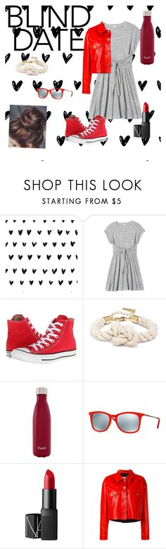 """""""Blind date"""" by cant-find-a-username ❤ liked on Polyvore featuring Rebecca Taylor, Converse, S'well, Ray-Ban, NARS Cosmetics and Golden Goose"""