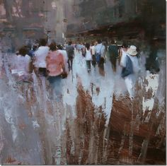 """""""Shopping District"""" original fine art by Tibor Nagy Painting People, Figure Painting, Painting & Drawing, Traditional Paintings, Contemporary Paintings, Cool Paintings, Landscape Paintings, Industrial Paintings, Urban Painting"""