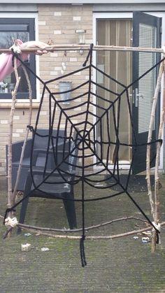 Eerste poging spinnenweb / wol