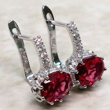 ADORABLE 3 CT RUBY 925 STERLING SILVER LATCH BACK EARRINGS