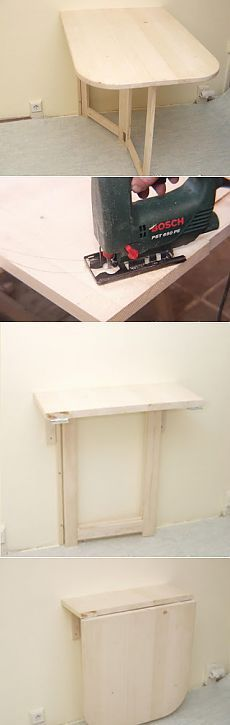 Сделайте практичный складной столик для маленькой квартиры.