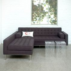 Part of the Loft Series of furniture designed for city living, this compact sectional has blind-tufted seat and back cushions with a stainless steel base. The chaise can be configured on the left, the right, or as standalone seating, making this sectional our most versatile. It includes 2 square side cushions. This item is constructed with 100% FSC®-certified wood in support of responsible forest management.