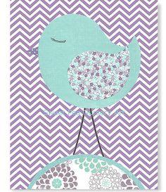 Nursery Bird Aqua and Purple Nursery Purple by SweetPeaNurseryArt, $22.00
