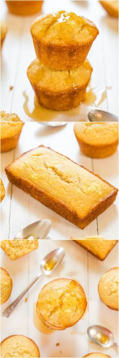 Honey Cornbread Muffins - Finally cornbread that's not dry! Fluffy, moist and sweetened with honey! You'll love this sweet cornbread as a perfect dinner side!