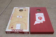 Indiana Hoosier basketball court/ IU state logo design.  On the very front of the I.U court, you'll see each championship year.