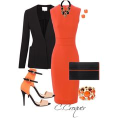 Shades of Orange by ccroquer on Polyvore featuring Victoria Beckham, 3.1 Phillip Lim, Poupée Couture, Amrita Singh, Moran Porat Jewelry and Kate Spade