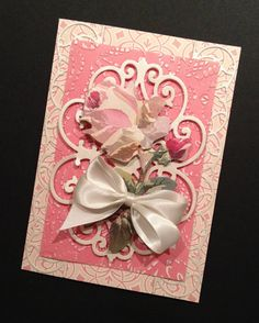 Shabby-Sweet and Fancy Pink Rose All Occasion Card with Elegant Anna Griffin Papers on Etsy, $7.25