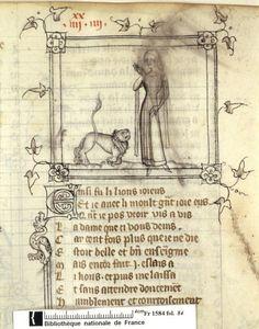 Français 1584, fol. 84, Hommage du lion à la Dame du Verger