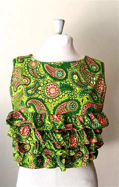 Vintage Cropped Top Summer Top with Green Paisley by needsgoodhome, via Etsy. $22