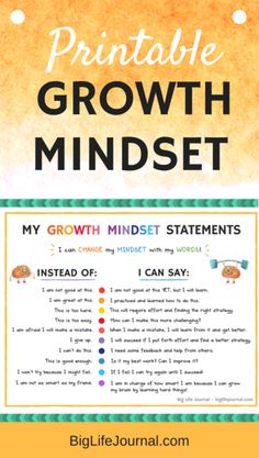 growth mindset printable for kids