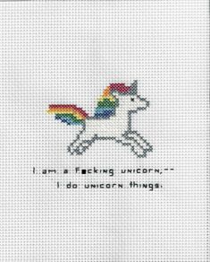 I am a fcking unicorn Cross Stitch by on Etsy Unicórnio - ponto cruz Cross Stitching, Cross Stitch Embroidery, Hand Embroidery, Unicorn Cross Stitch Pattern, Cross Stitch Patterns, Cross Stitch Quotes, Stitch Shop, Crochet Unicorn, Blackwork