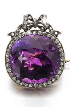 Faberge-Amethyst & Diamond Brooch-c1899