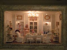dollhouse miniature dining room roombox by goldieholl, via Flickr
