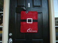 Santa's Belt Christmas Burlap Door Hanger on Etsy, $30.00
