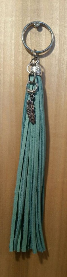 Turquoise Leather Tassel Keychain-End Cap with by LeatherVision