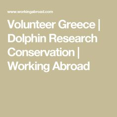 Volunteer Greece | Dolphin Research Conservation | Working Abroad