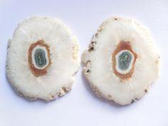 Natural Druzy Slice Loose Elongated Geode Agate Pair Druzy 54x46MM #Unbranded
