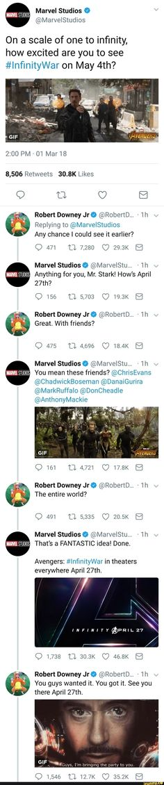 The entire world are RDJ's friends. I didn't even know they'd moved up the date! I've been so friggin sick I've been out of touch. And for any of you wondering if this is real I did check and it is. Coming April 27 :D
