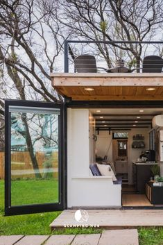 Romantic Tiny House in a Repurposed Shipping Container near Waco, Texas Building A Container Home, Container House Plans, Container House Design, Tiny House Design, Container Houses, Tyni House, Tiny House Living, Small House Decorating, Shipping Container Homes