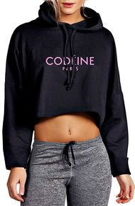Mouth Fulla Gold The Mouth Fulla Gold CODÉINE PARIS Cropped Hoodie (Black/Cam'ron Pink)