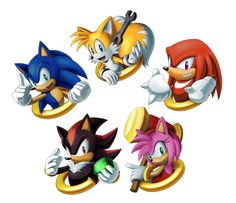 """Sonic Charm Design Set 1 by sonicolas Featuring Sonic the Hedgehog, Miles """"Tails"""" Prowler, Knuckles the Echidna, Shadow the Hedgehog and Amy Rose"""