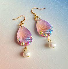 Mermaid Earrings Shell Pink Pearl Kawaii Fantasy by XKawaiiCutieX