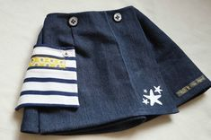 Détail de poche passepoilée ATLAS (Grains de Couture pour Enfants, Ivanne Soufflet) sur une jupe Citronille, by Ptites Sapes