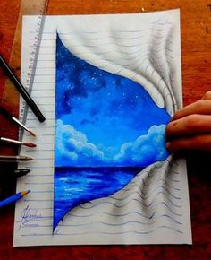 Бразильский художник Жоао Карвальо (João Carvalho), которому всего 15 лет, создаёт на обычных страницах своего блокнота удивительно реалистичные рисунки с эффектом 3D. Эффект трехмерности достигается за счет того, что он рисует голубые линии по горизонтали и по обтеканию фигуры, после чего добавляет к изображению тень. Кажется, что ещё чуть-чуть и мультяшки сойдут с листа бумаг&hell…