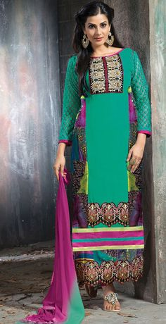 USD 35.16 Turquoise Faux Georgette Long Churidar Suit 42658