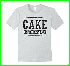 Mens Cake Is Therapy - Funny Dessert Food Saying T Shirt 3XL Heather Grey - Food and drink shirts (*Amazon Partner-Link)