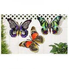 Iron Butterfly Design Wall Décor 3 Assorted