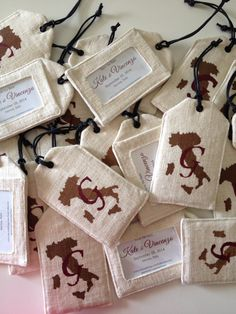 Save the Date luggage tags handmade and painted for an international destination wedding in Italy.