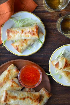 Baked Chicken Spring Rolls- ground chicken, cabbage, onion, mushrooms, garlic, fresh ginger,  hoisin sauce, spring roll wrappers