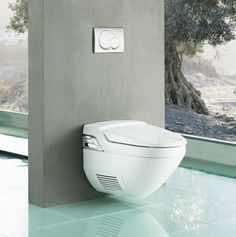 Your guests will enjoy the cleaning function of this Geberit AquaClean toilet!