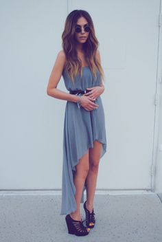 hi low dress #effortless #casual #fashion #outfit #style #trend #chic #shoes #strappy #hair