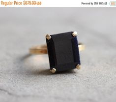 Engagement ring 18k gold Blue Sapphire ring  by Studio1980 on Etsy