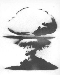 """I've heard it said that every mushroom cloud has a silver lining. Cloud Stencil, Stencil Art, Explosion Drawing, Inktober, Bomba Nuclear, Cloud Drawing, Bunny Drawing, Mushroom Cloud, Mushroom Tattoos"