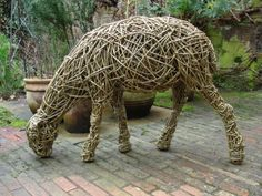 Willow Sheep, Ewes, Rams, Tups, Lambs, Wether or Statues, #sculpture by #sculptor Emma Walker titled: 'life size willow `sheep` 4.' #art