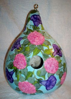 Hummingbirds, Morning Glories Lg Hand Painted Gourd birdhouse Mother's Day Gift