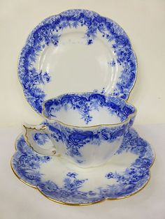 Antique Wileman pre Shelley trio blue and white with gold trim