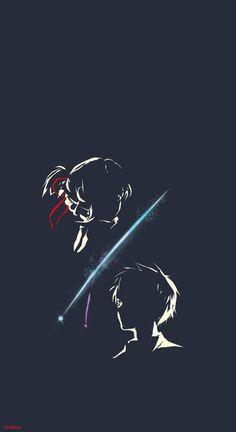 Kimi No Na Wa Anime Art Couple Love Black Minimalism Wallpaper 🖌Edited A. Kimi No Na Wa Wallpaper, Kawaii Wallpaper, Wallpaper Desktop, Black Wallpaper, Girl Wallpaper, Disney Wallpaper, Wallpaper Quotes, Wallpaper Backgrounds, Your Name Wallpaper