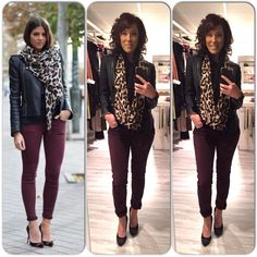 Ootd, outfit, burgundy jeans, leather jacket, black jacket, scarf, leopard scarf www.mbstyliste.ca Facebook