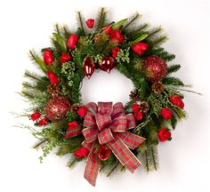 Red Tulips & Ornaments Christmas Wreath