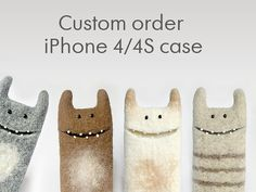 Monster sleeve Samsung Galaxy 3S wool felted case by EthicStyle