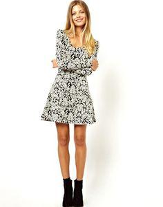 2b70c2df4 Image 4 of Vero Moda Jacquard Mono Print Sweat Skater Dress Mono Print,  Skater Dress
