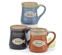 Burton + Burton, Christian Messages Coffee Mug Assortment, Stoneware, 16 Ounces