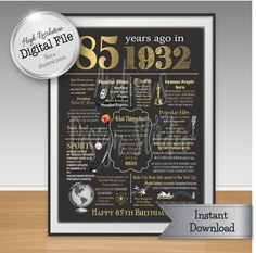 85th Birthday Print 1932 Events & Fun Facts by AndreasDesignStudio